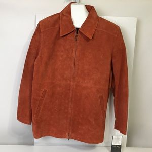 Terry Lewis Classic  Orange Leather Jacket Large